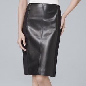 White House Black Market Mixed Leather Black Skirt